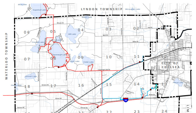 Water (blue) & sewer (red) lines in Sylvan Township. Click to enlarge.