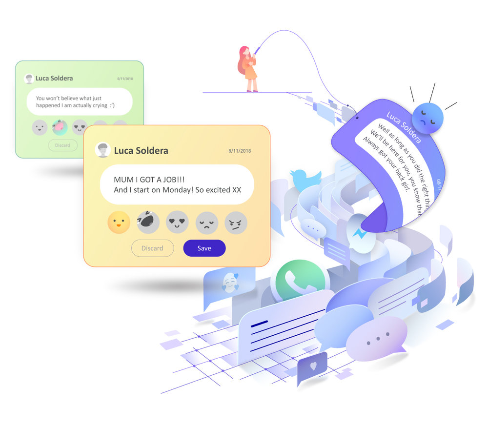 Retrieve your important messages - Import your conversations from other platforms. Deary's Artificial Intelligence automatically captures your misplaced meaningful messages!!!
