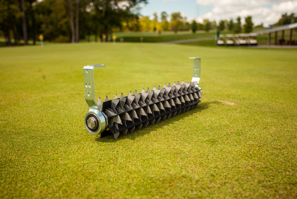 "Vacu-Groomer™ - Everyone wants a nice even cut when they mow their greens. We suggest using the Vacu-Groomer™ Insert to stand up the grass prior to mowing to get the most even cut possible. Additionally, the Vacu-Groomer™ is an effective tool for removing poa annua seedheads.Usual Working Depth: 0 – 3/32"" (0-2mm)Maximum Working Depth: 3/32"" (2mm)Blade Spacing: 3/8"" (10mm)Blade Type: 45 steel blades with 2 tungsten carbide tips on each. Blade tips are offset so they can cut at ¼"" (5mm)."