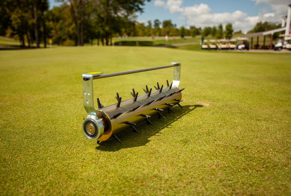 "Greens Spiker - Preparation is an important aspect to any turf maintenance program. With the Greens Spiker you are able to prep your greens for overseeding with only two or three passes – saving you time! The Greens Spiker uses its spikes to penetrate through the greens' surface to allow air and water entry – also making it a great tool for venting during high humidity months!Usual Working Depth: ¾"" (20mm)Maximum Working Depth: ½-1"" (12-25mm) if ground conditions are soft enoughSpike Spacing: 2 3/8"" (60mm) producing 344 holes per square yard or 400 holes per square meterSpike Type: 55 hardened steel spikes 1 ¼"" long"