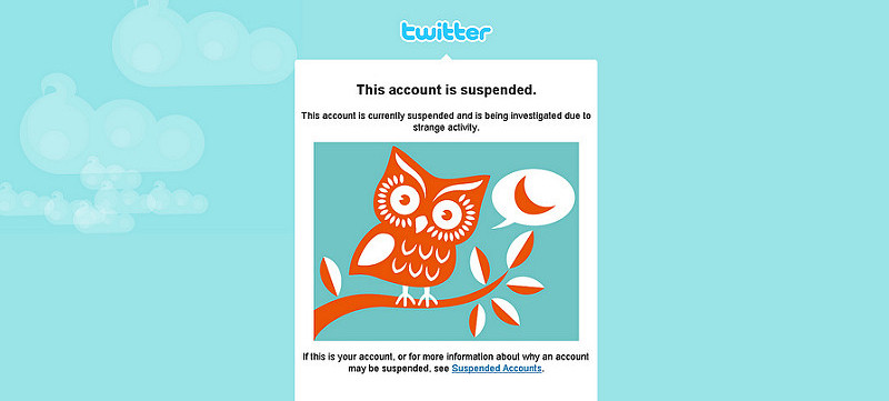 Twitter trolls suspended account