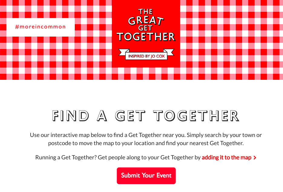 The Find an Event page on the Great Get Together website