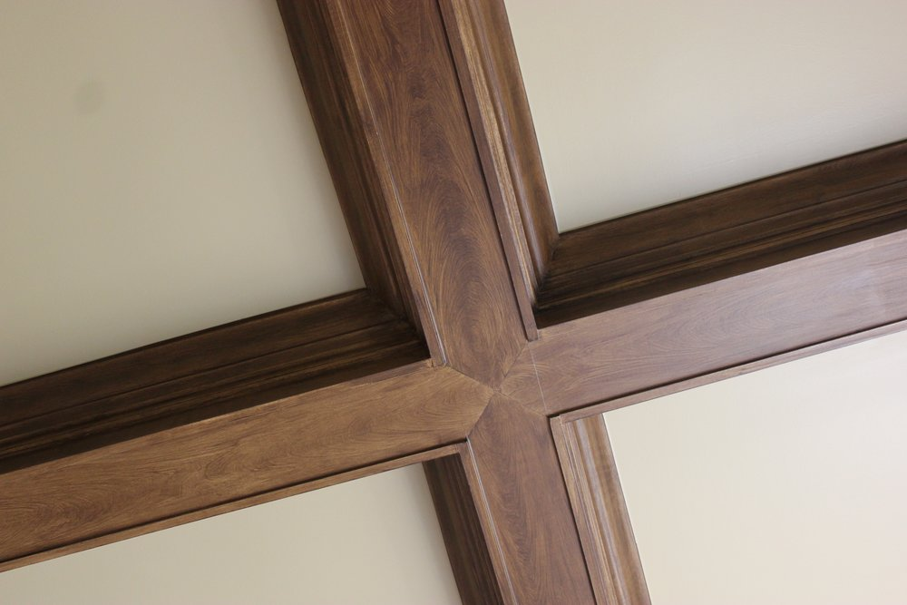 Ceiling beams transformed into wood.