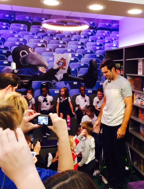 Charles Carroll Barrister Elementary's new library courtesy of the  Ravens Foundation.  Joe Flacco at the unveiling celebration.