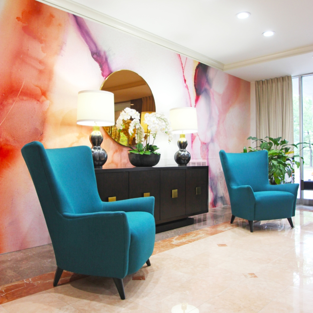 Abstract Mural Paper created for a condominium lobby by Lenehan Studios for Brian Dermitt