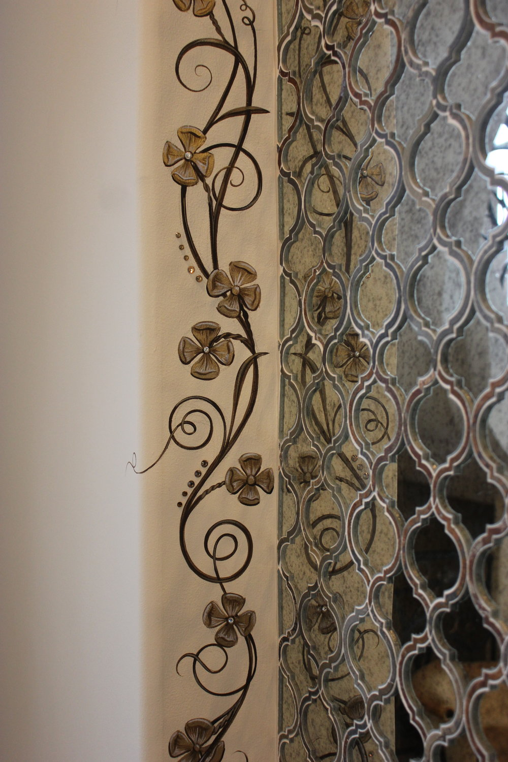 Hand Painted Floral Vine