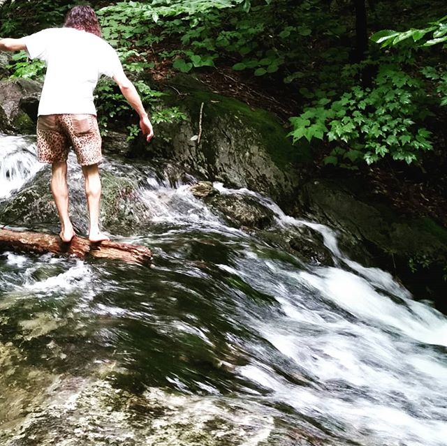The leopard print shorts blend in to their environment seamlessly. . . . . . . . . . . .  #outdoors #stream #berkshires #MA #forest #water #hike #beautiful #nature #mountains #mountain #mountainside #movement #balance #outdoor #dressforcool #travel #workoutWednesday #lost #humpday #adventure #woods #appalachiantrail