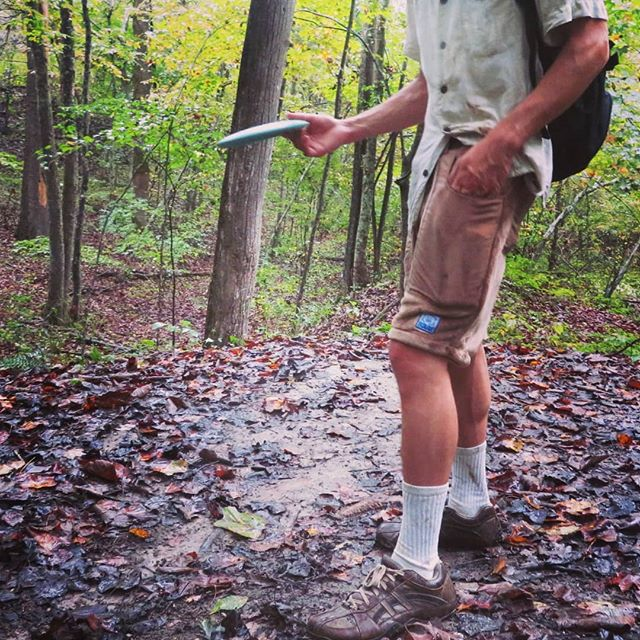 It was a rainy day for disc golf in the woods.  But anything is possible with Polar Shorts!