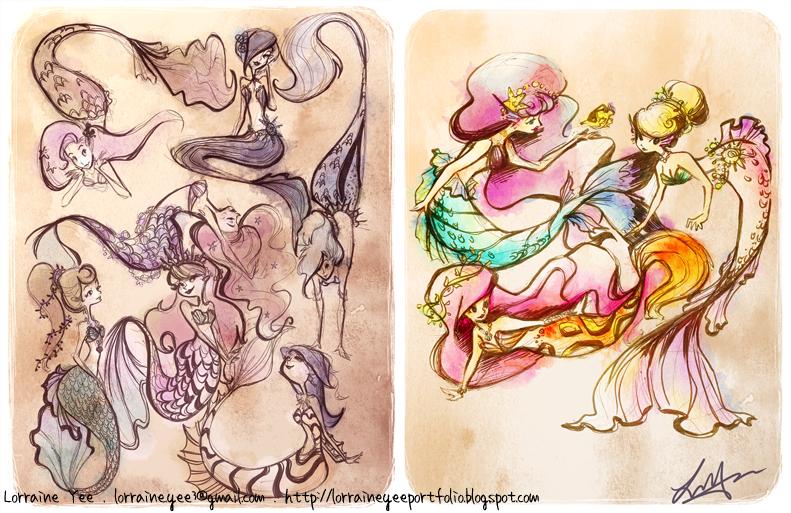 mermaid sketch pages