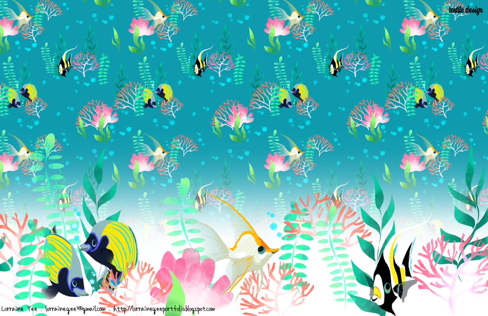 tropical fish allover pattern
