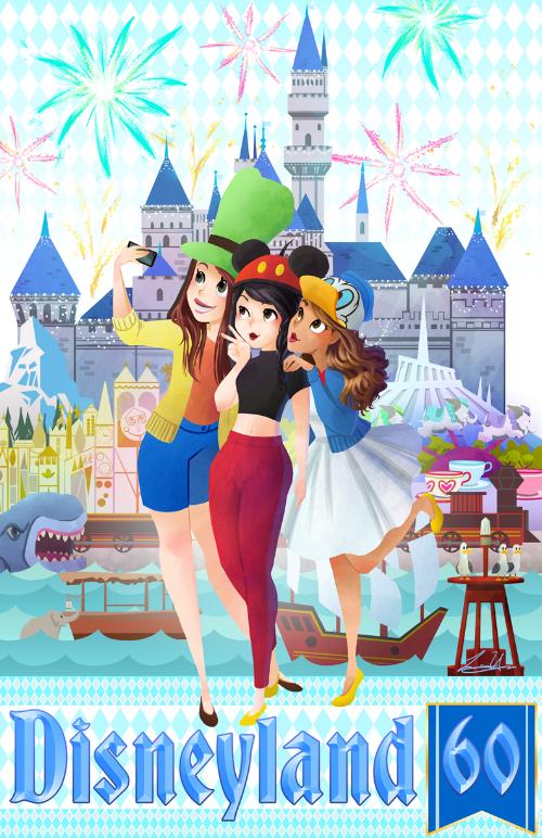 Disneyland 60th Anniversary Travel Poster