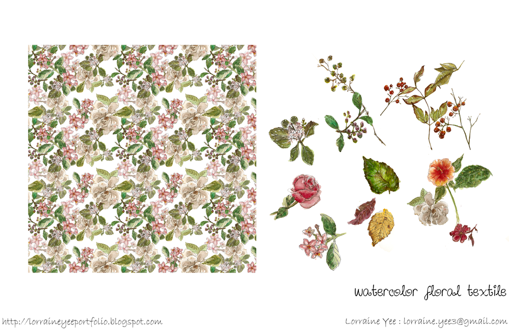 Watercolor flowers allover pattern, done in traditional watercolors.