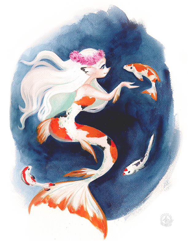 Koi Mermaid in Gouache/Watercolor