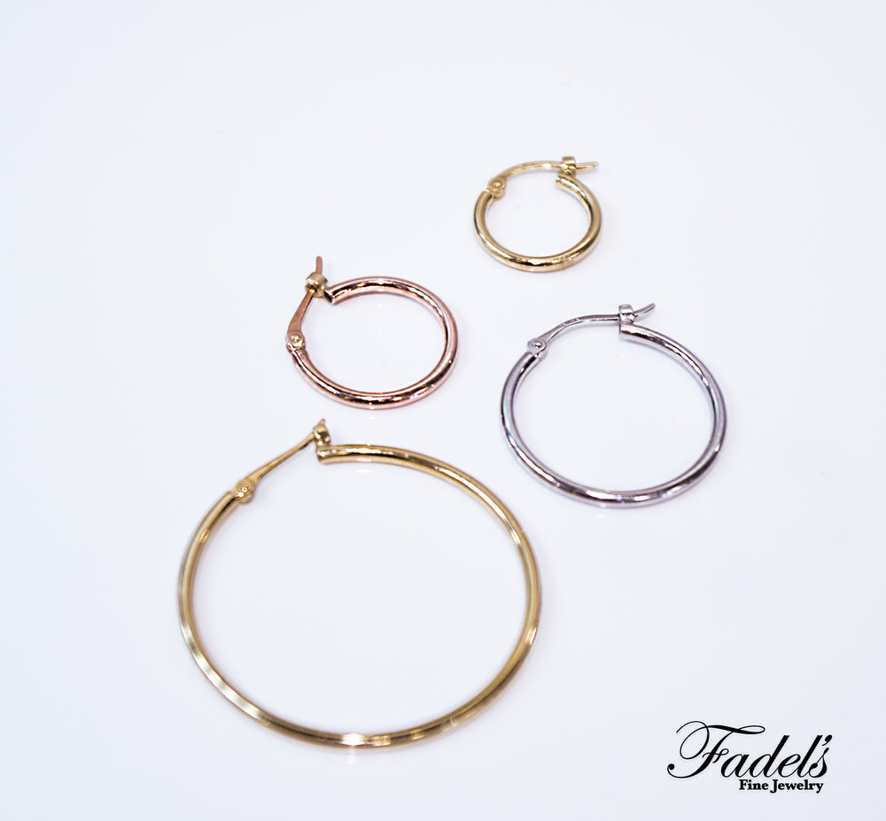 14K Gold hoops in all sizes and color.JPG