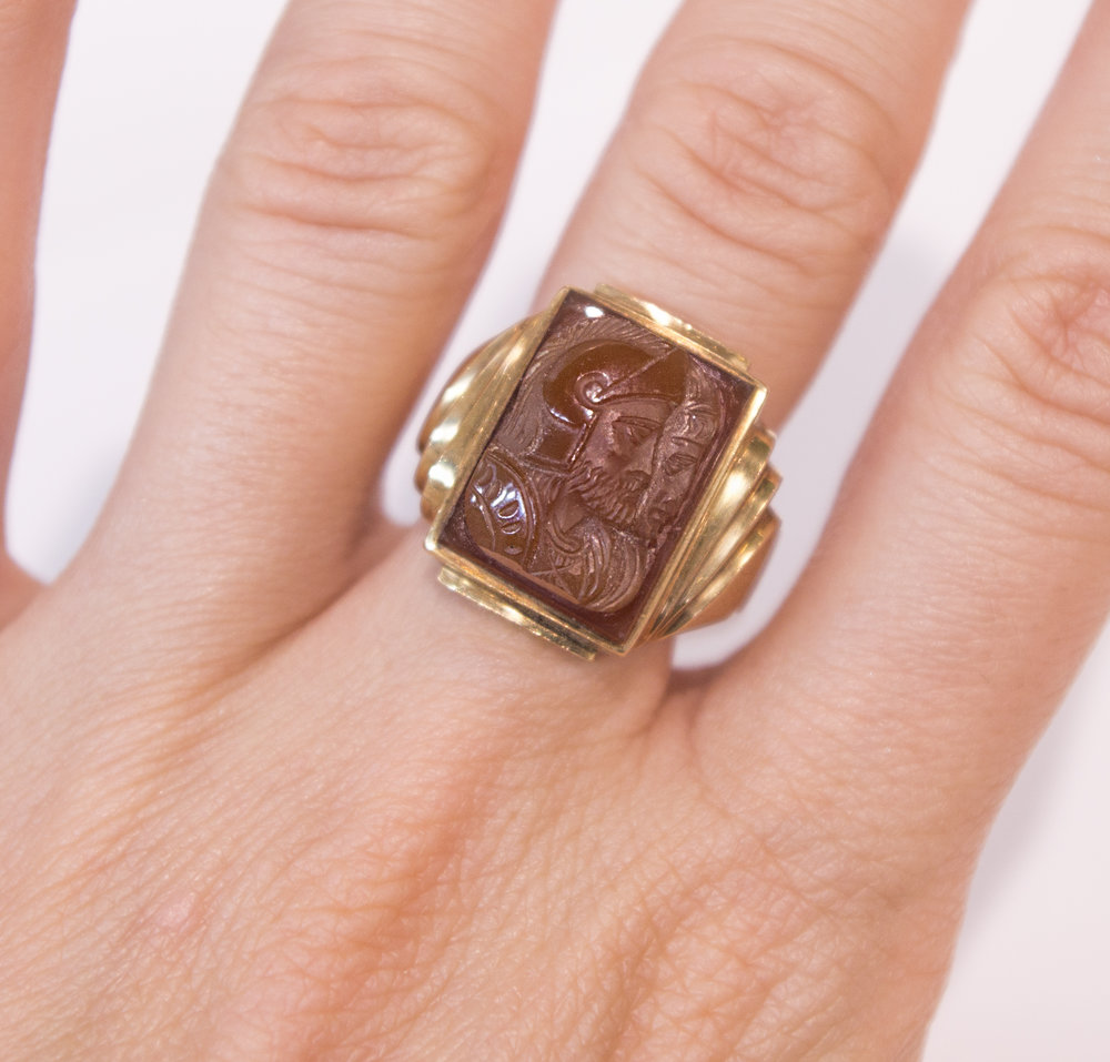 Estate Men's Ring with Two Warrior Cameo on finger.JPG