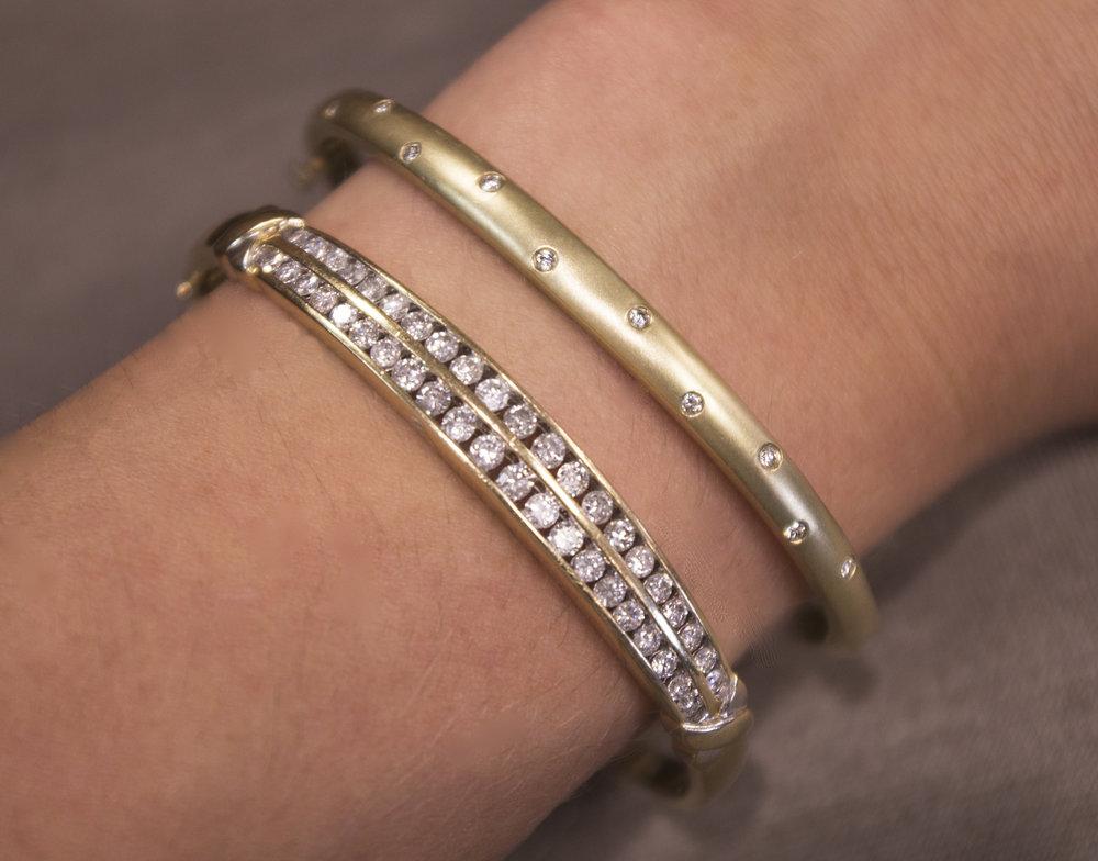 Estate Yellow Gold  Diamond Bracelets.JPG