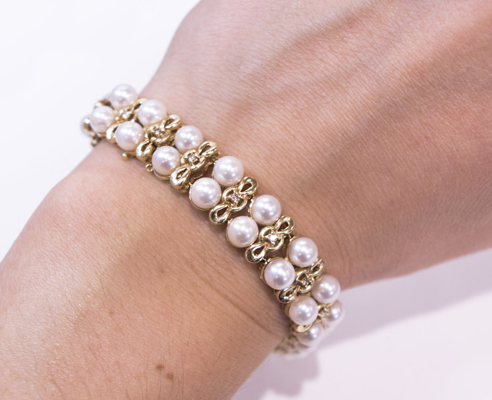 Pearl and diamond bracelet set in 14KY Gold.JPG