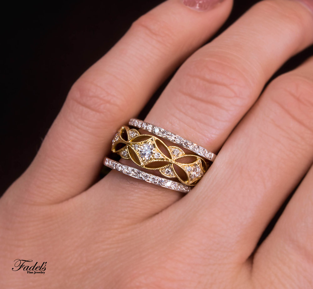 Right Hand Rings 14KY gold diamond band with two 14KW gold diamond bands.JPG