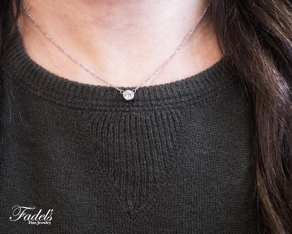 14K White gold diamond bezel necklace.JPG