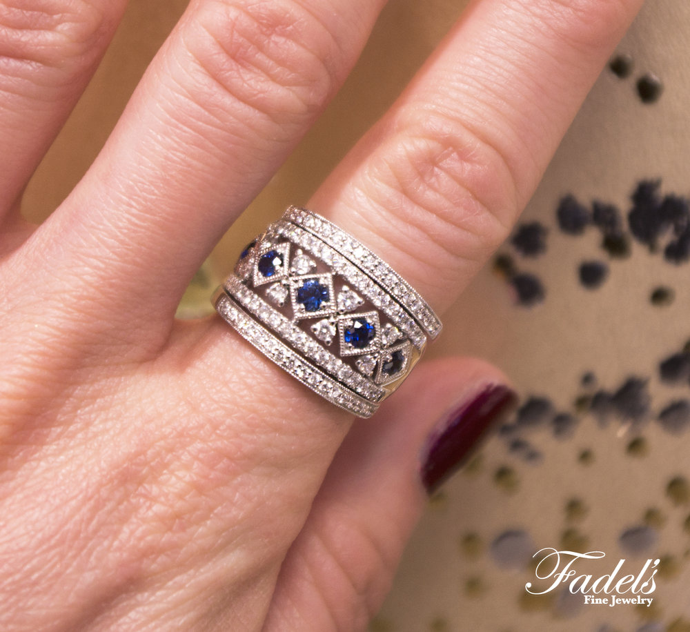 Right Hand Ring 14K White Gold with Diamonds and Sapphires combined with two 14KW dia bands.JPG