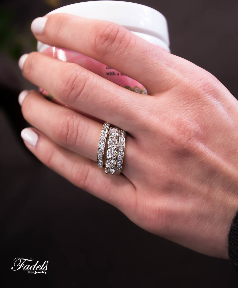 Right Hand Rings 14k yellow and white diamond bands.JPG
