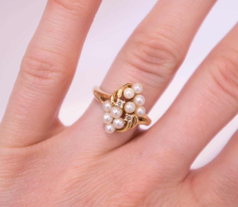 Estate Pearl and Diamond Ring.JPG