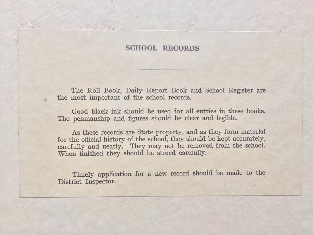 Notice at the back of each statutory record book.