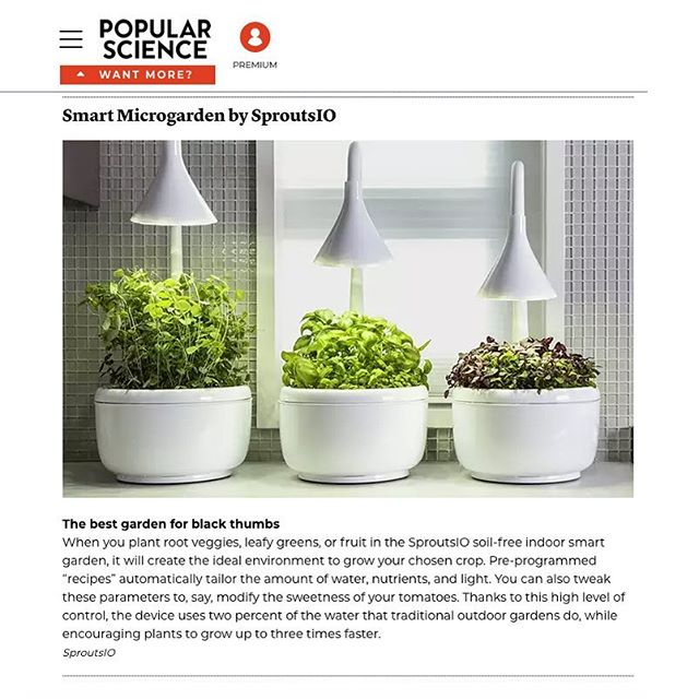 "Thank you @popsci for naming SproutsIO among ""The most ground-breaking home innovations of 2018""! Pick up their latest issue or follow link in bio to read more. - @ebcnewyork #popularscience #magazine #published #sproutsio #personalproduce #alwaysgrowing"