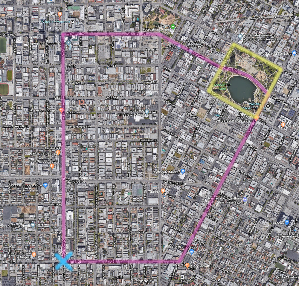 ................. yellow - macarthur park ................. blue - parade start ................. pink - parade route .................