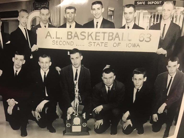 Members of the 1963 Abraham Lincoln Boys Basketball Team honored during game