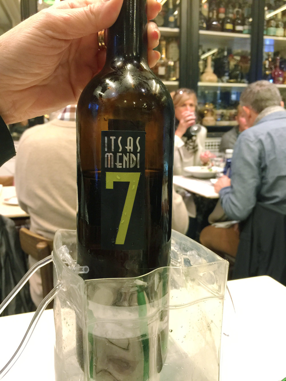 """Wine at Victor Montes - We really loved the local Txakoli and this one is the most highly valued Txakoli of the """"Bizkaiko Txakolina"""". Txakoli is light, slightly effervescent and super refreshing. It pairs well with tapas."""