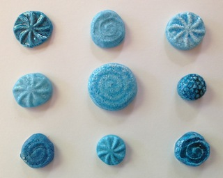 efflorescence glazed Egyptian faience samples