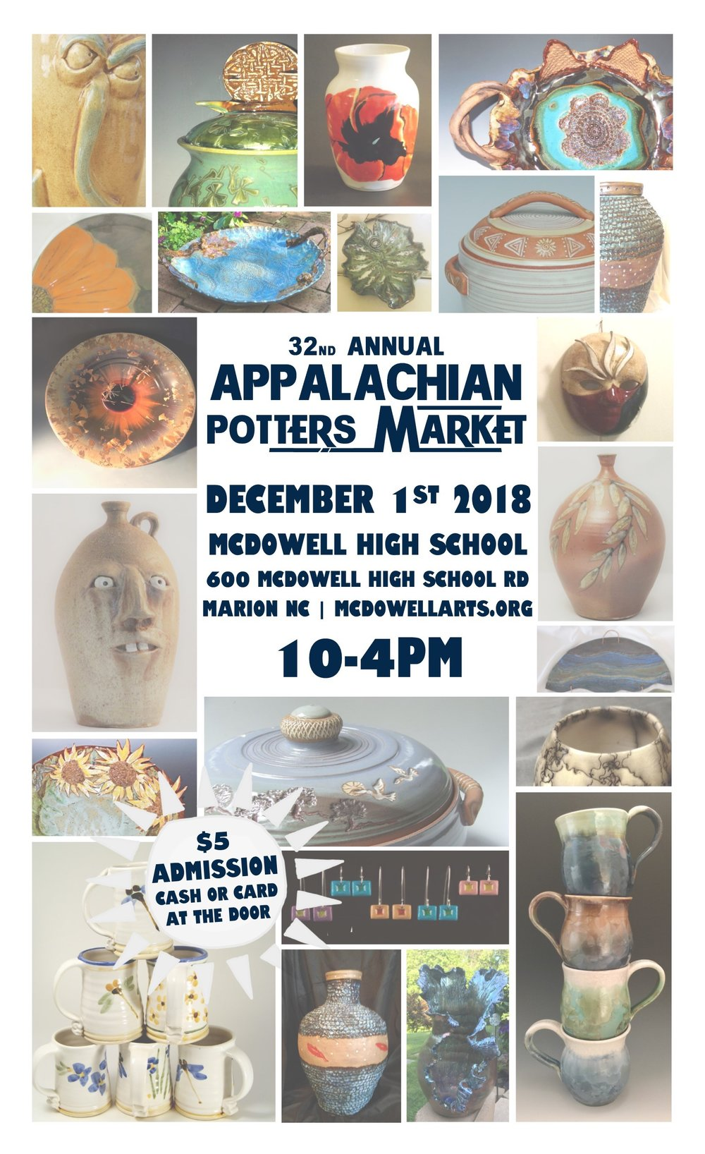 Appalachian Potters Market - Appalachian Potters MarketSaturday, December 1st10am - 4pmMcDowell High School600 McDowell High DrMarion, North Carolina 28752More info: http://www.mcdowellarts.org/appalachian-potters-market.htmland: https://www.facebook.com/events/232440440955573/