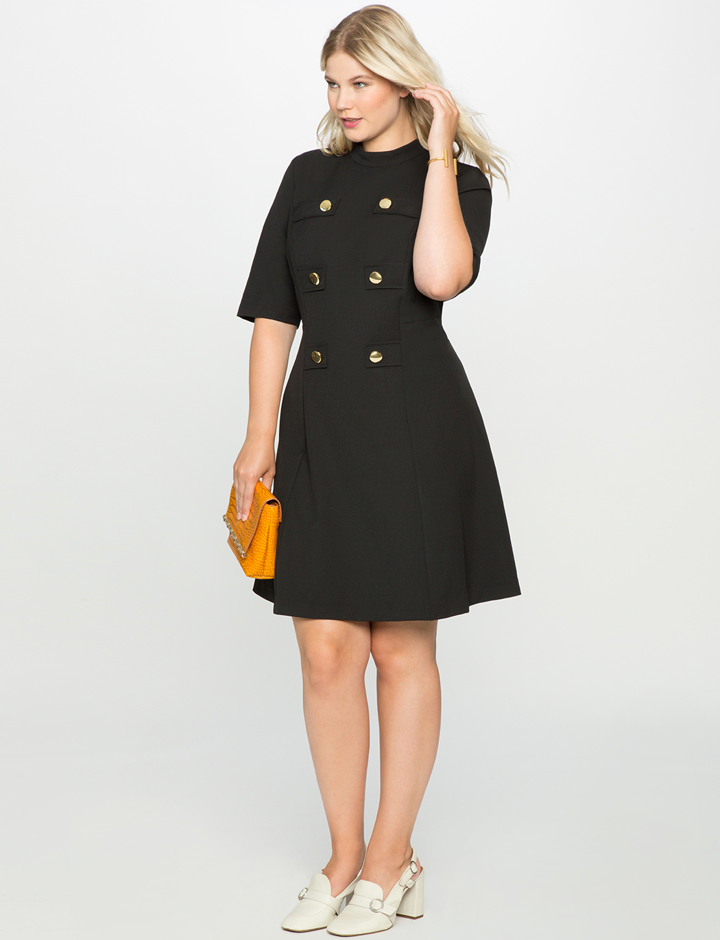 ELOQUII black military style dress with buttons, product 1243960