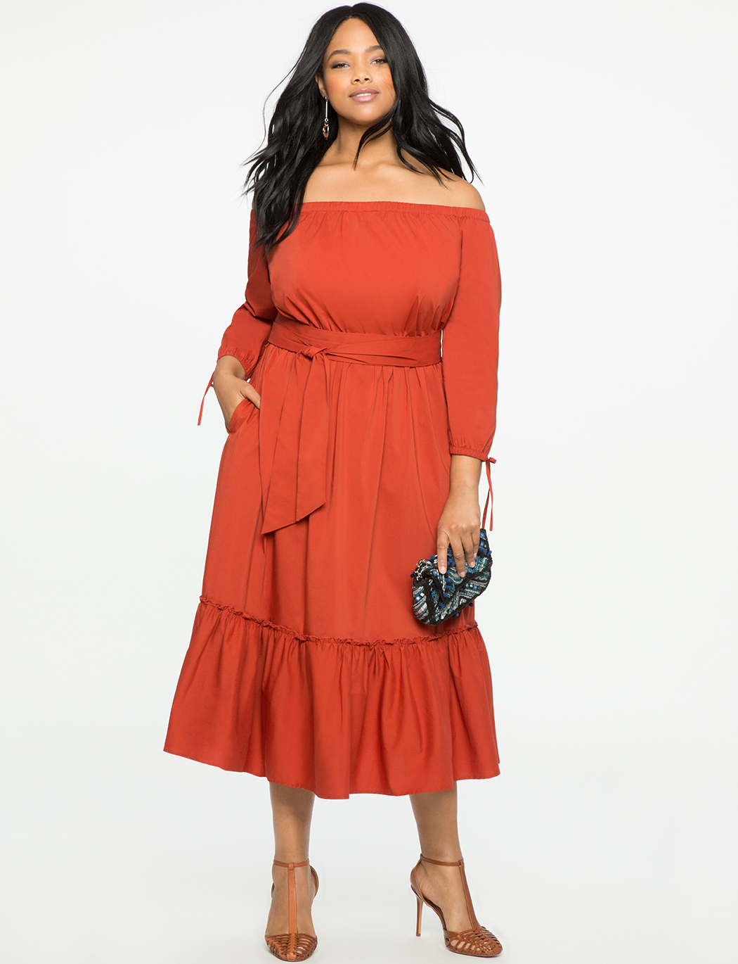 ELOQUII coral off the shoulder plus size dress with flounce detail, product 1243971