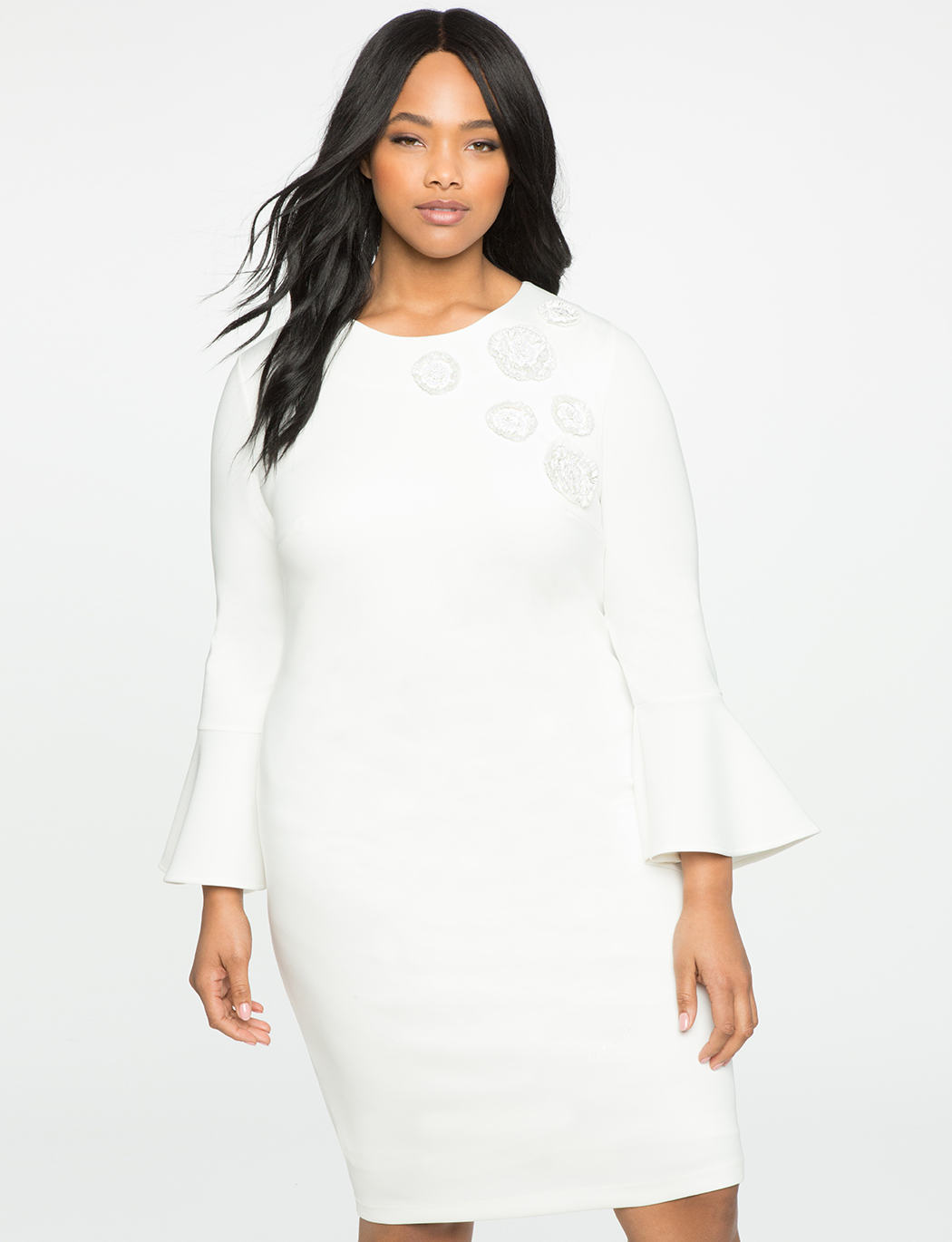 Plus size white dress with flare sleeves