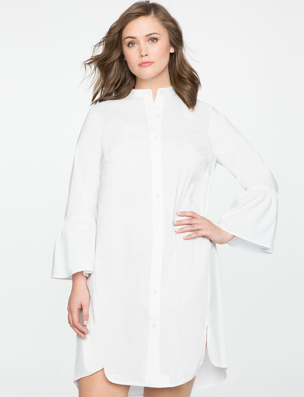 Plus size white shirt dress with flare sleeves
