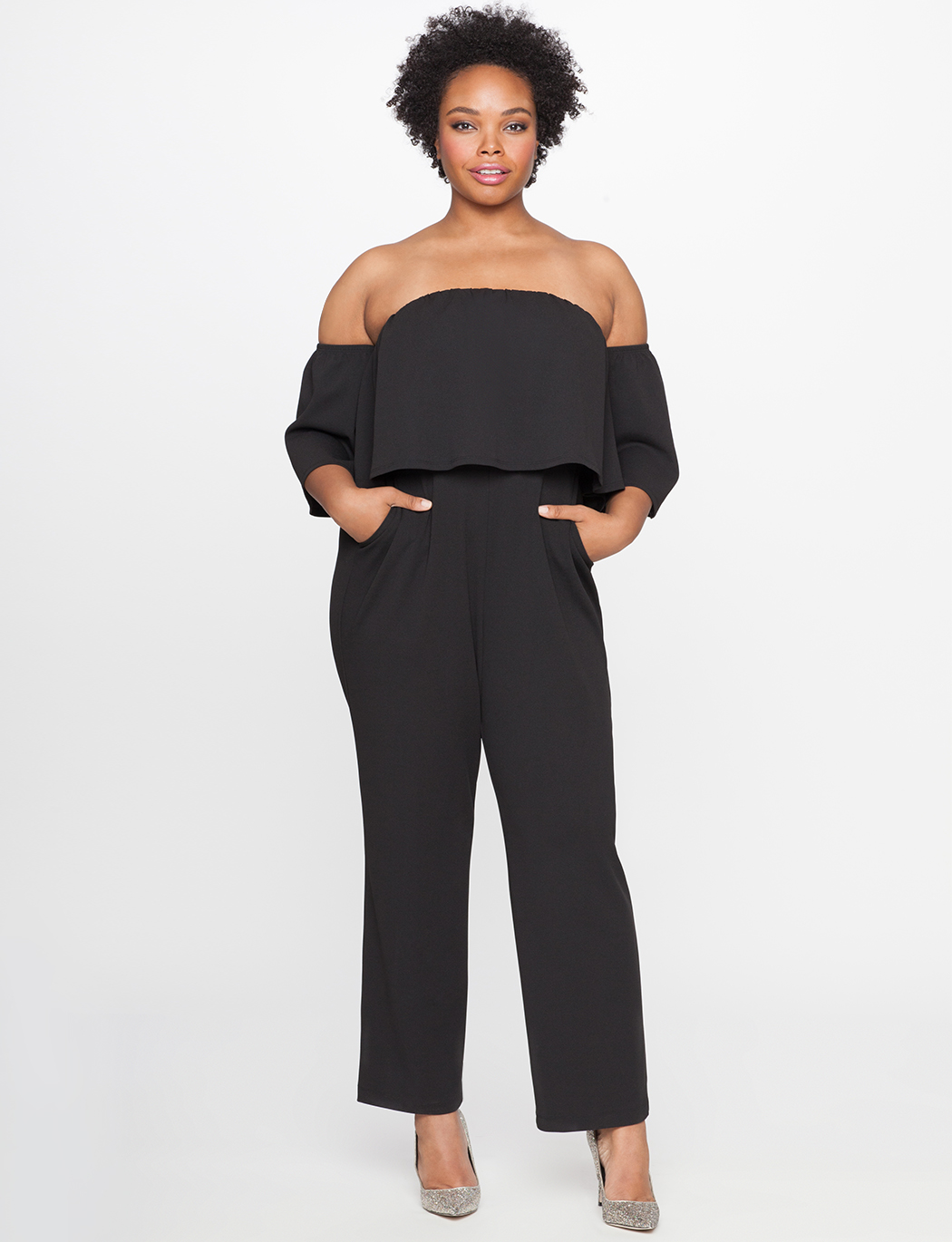 ELOQUII Black Off the Shoulder Ruffle Jumpsuit