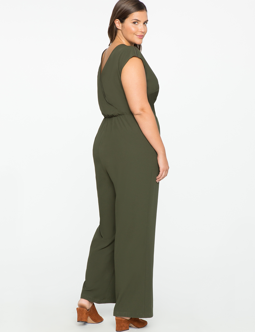 ELOQUII Olive Zip Detail Sleeveless Jumpsuit