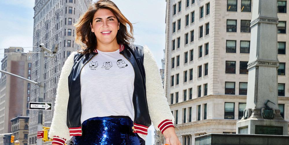 ELOQUII-x-Katie-Sturino-Look-1-Bomber-Graphic-Tee-Sequin-Midi-Skirt-e1508905203310.jpg