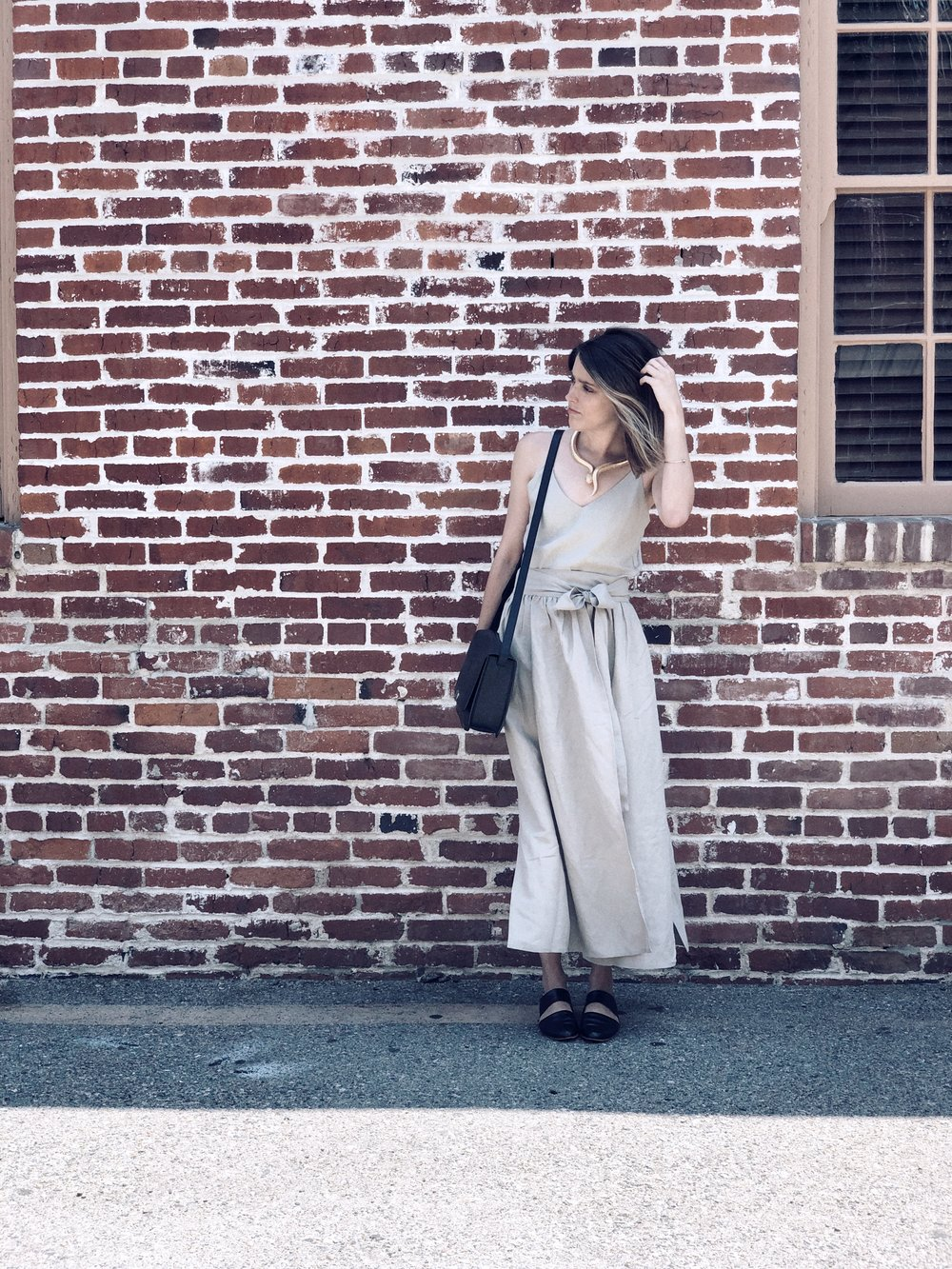 Top & Skirt- Ozma of California; Mules- ZouXou Shoes; Crossbody- Cuyana; Snake Necklace- Oldie but Goodie
