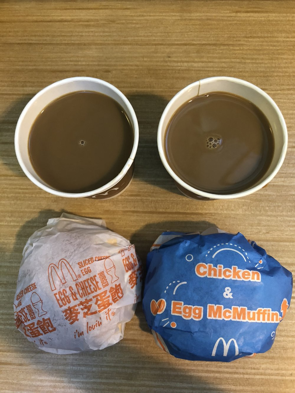 Egg & Cheese Hamburger + Chicken and Egg McMuffin