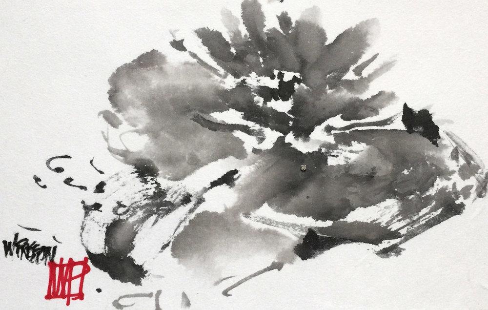 "Pond Lily- Sumi 9x15.5""  $450."