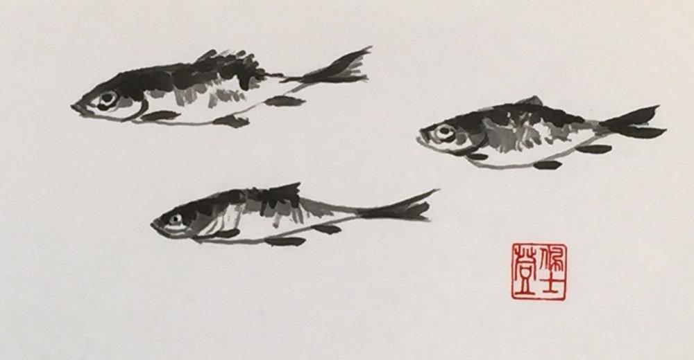 Three Fish -5x10 - $200.
