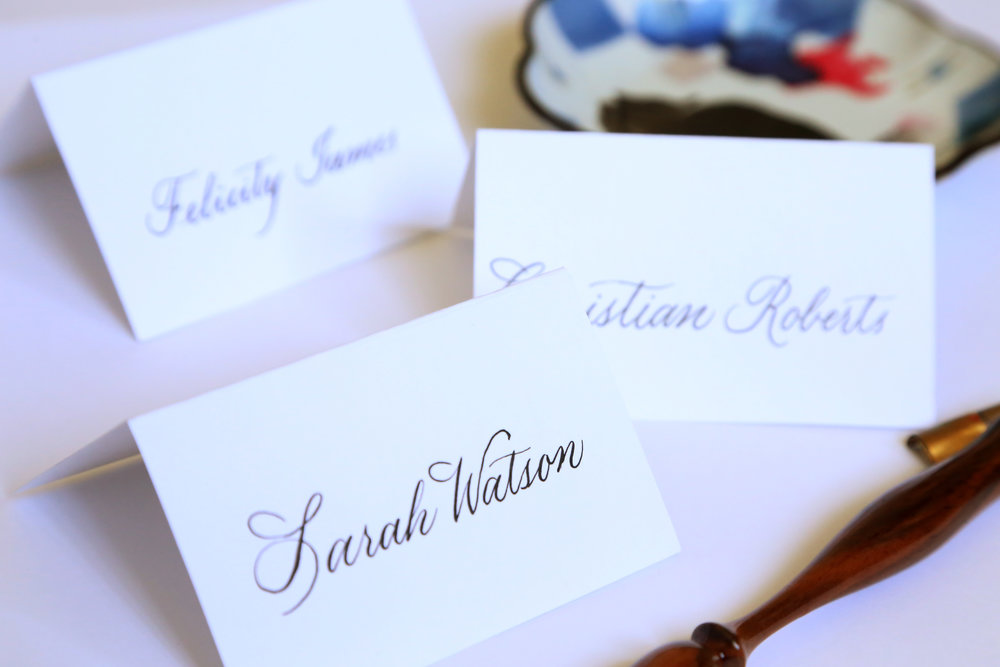 Classic copperplate on tented place card