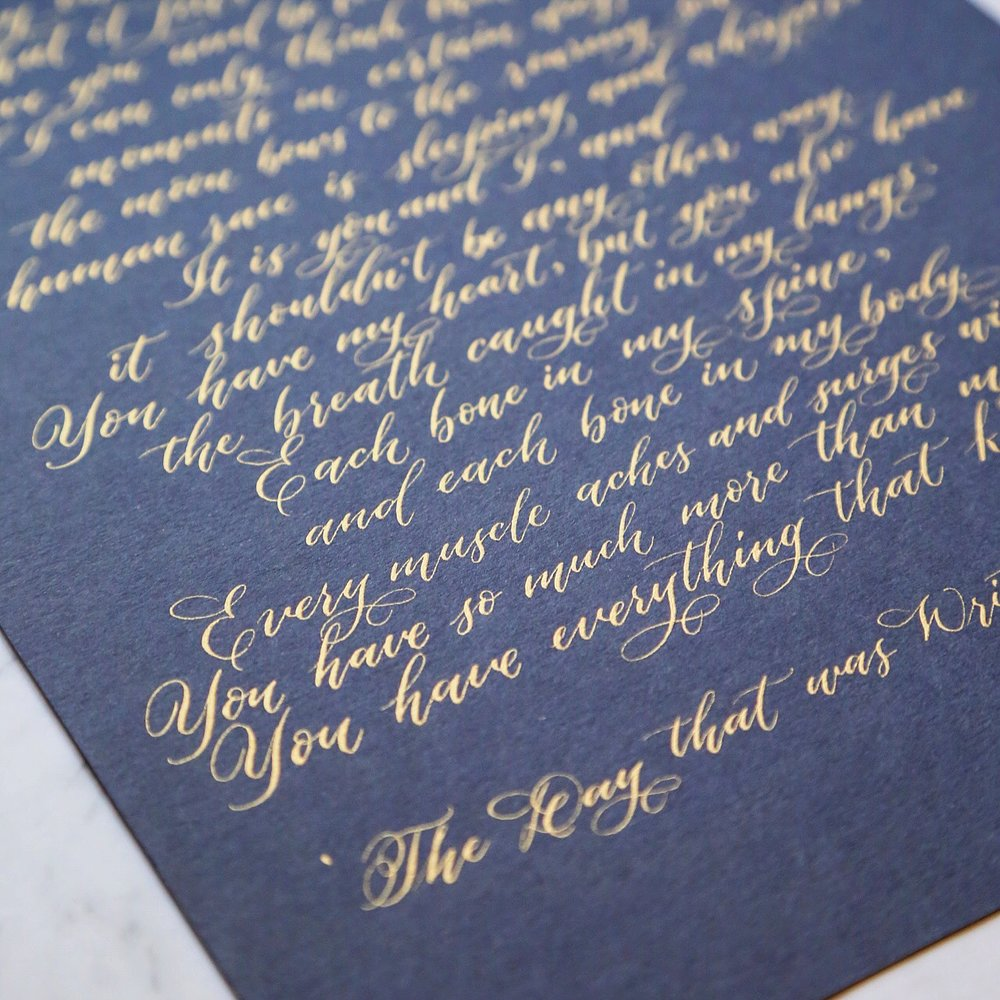 Custom handwritten poem as a birthday present