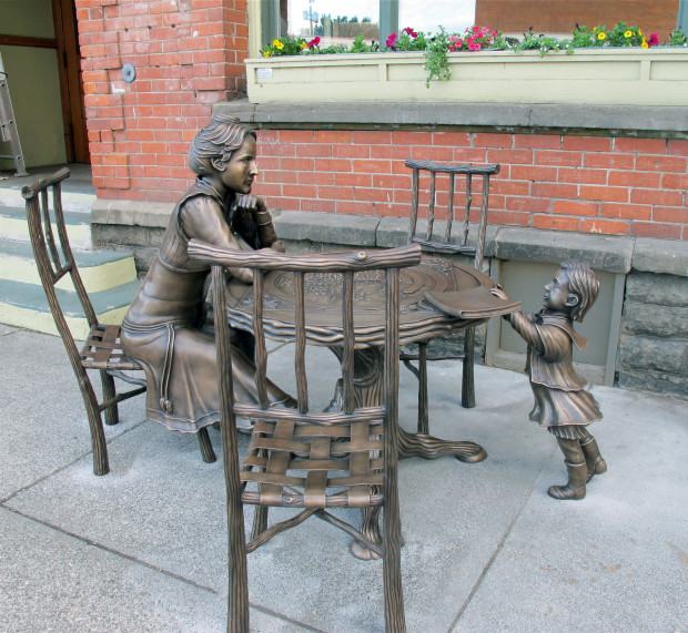 Sit down and have a word with the namesake of our library, Fanny Weller. She doesn't usually have much to say, but she's a great listener and undefeated stare-down champion.