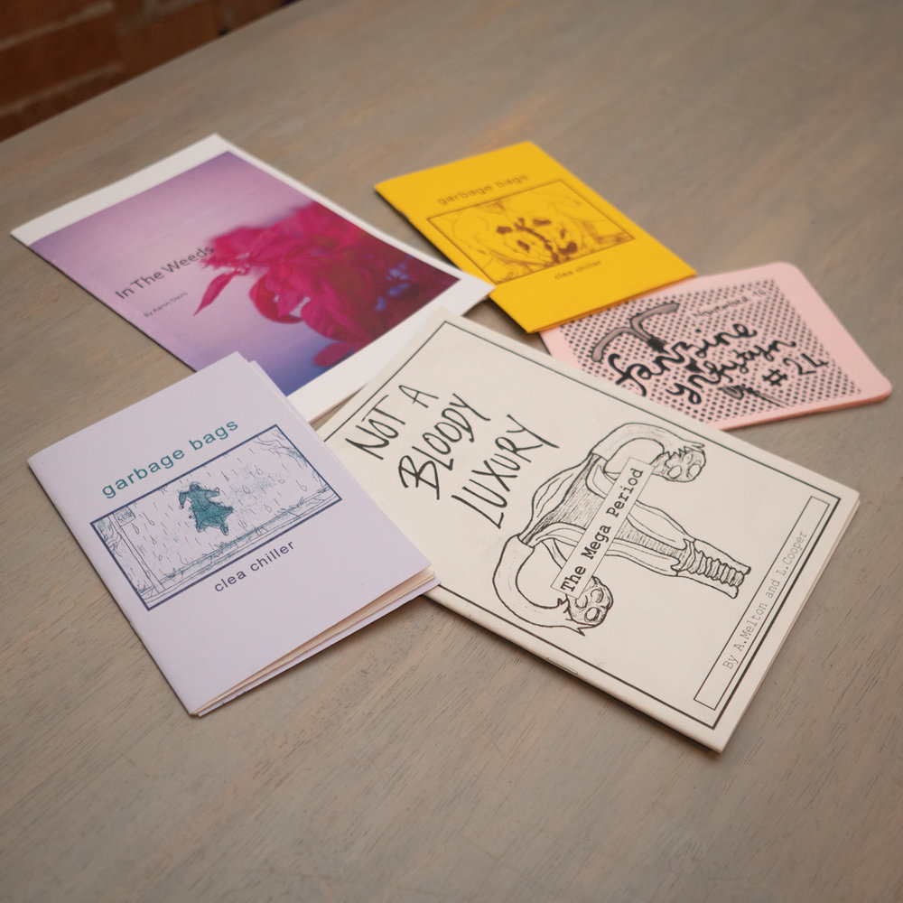 Zines about Endometriosis from Wasted Ink Zine Distro and Charissa's personal collection.