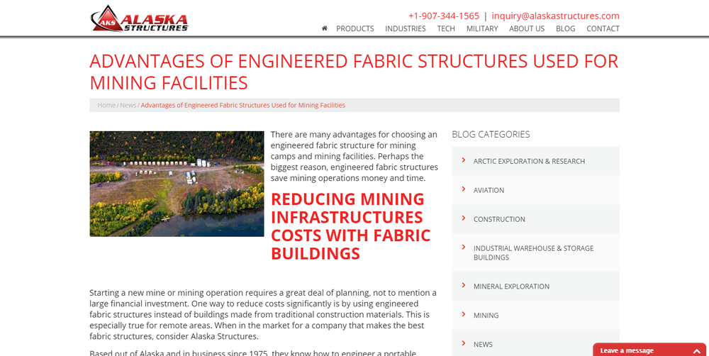 Advantages of Engineered Fabric Structures Used for Mining Facilities