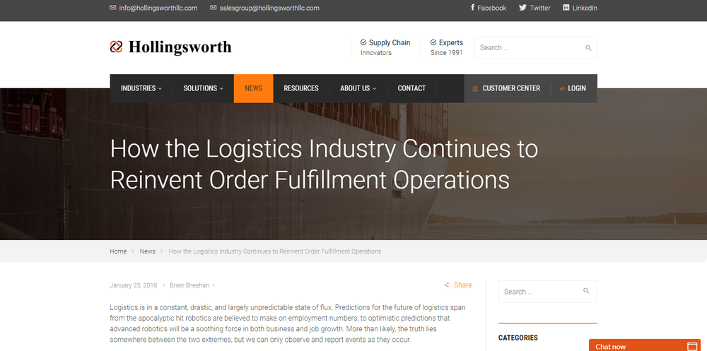 How the Logistics Industry Continues to Reinvent Order Fulfillment Operations
